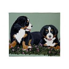 Bernese Pups in Clover Throw Blanket
