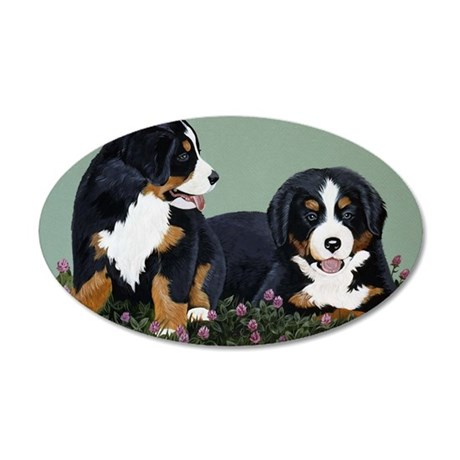 Bernese Pups in Clover 35x21 Oval Wall Decal
