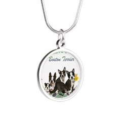 Boston Terriers Cant Have Ju Silver Round Necklace