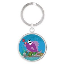 4-blow_fish_purple Round Keychain