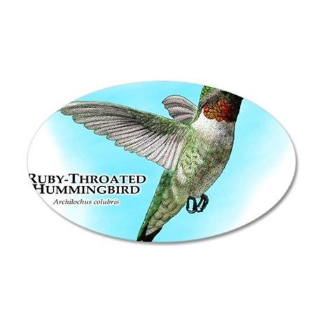 Ruby-Throated Hummingbird 35x21 Oval Wall Decal