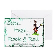 steps hugs rocker Greeting Card