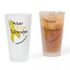 i_wear_yellow_for_my_grandpa Drinking Glass