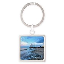 Beachfront Seaside Square Keychain