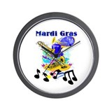 Mardi Gras Music Wall Clock