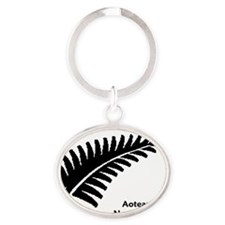 Medium Fern - NZ-Aotearoa Text Oval Keychain