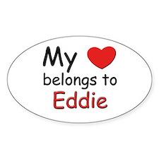 My heart belongs to eddie Oval Decal