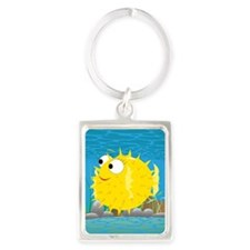 2-puffy_fish_yellow Portrait Keychain