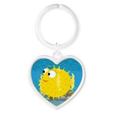 2-puffy_fish_yellow Heart Keychain