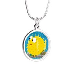 2-puffy_fish_yellow Silver Round Necklace