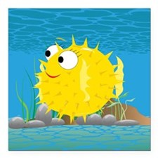"""2-puffy_fish_yellow Square Car Magnet 3"""" x 3"""""""