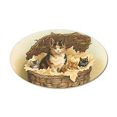 Kitties in Basket 35x21 Oval Wall Decal