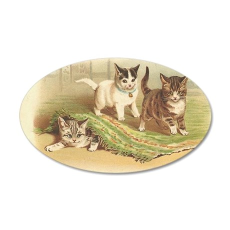 Playful Kittens 35x21 Oval Wall Decal