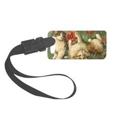 Cats with Poppy Flowers Luggage Tag