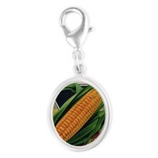 Yellow Corn antique seed packet Silver Oval Charm