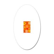 Orange Floral Pop Art Journa 20x12 Oval Wall Decal