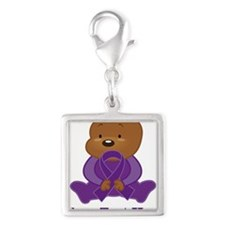 Personalized Purple Awareness Ribbon Bear Charms