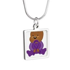 Personalized Purple Awareness Ribbon Bear Necklace
