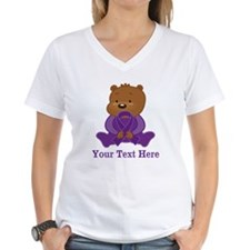 Personalized Purple Awareness Ribbon Bear T-Shirt