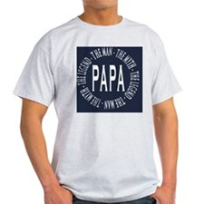 Papa round navy white copy T-Shirt