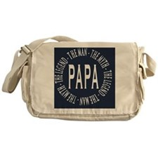 Papa round navy white copy Messenger Bag