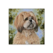 "Lhasa Apso by Dawn Secord Square Sticker 3"" x 3"""