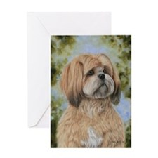 Lhasa Apso by Dawn Secord Greeting Card