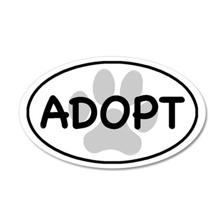 adopt paw-1 35x21 Oval Wall Decal