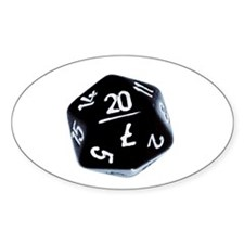 black D20 Oval Decal