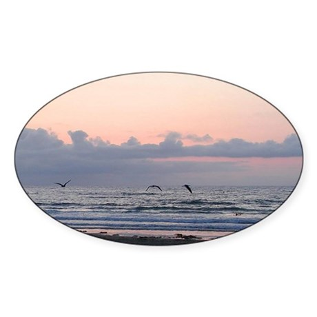 Seascape Oval Sticker