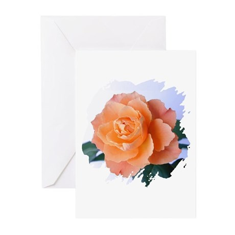 Orange Rose Greeting Cards (Pk of 10)