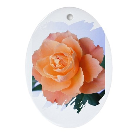 Orange Rose Oval Ornament