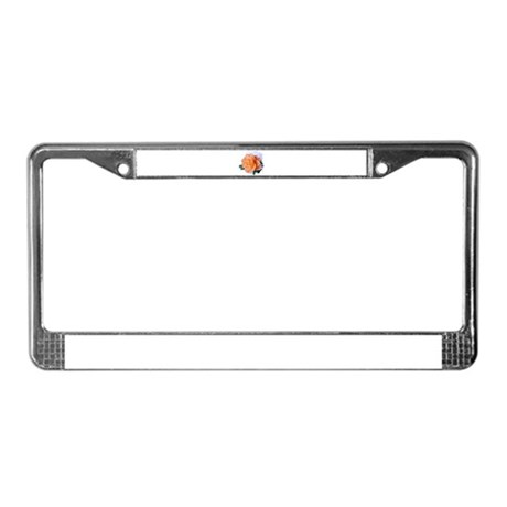 Orange Rose License Plate Frame