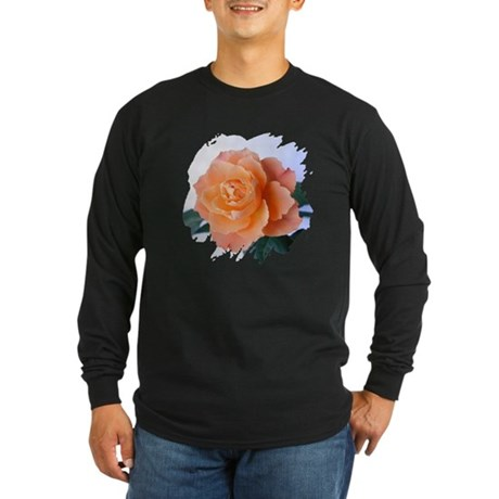 Orange Rose Long Sleeve Dark T-Shirt