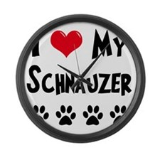 I-Love-My-Schnauzer Large Wall Clock