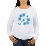 Geocacher Blue Flowers Women's Long Sleeve T-Shirt