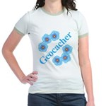 Geocacher Blue Flowers Jr. Ringer T-Shirt