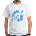 Geocacher Blue Flowers White T-Shirt