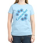 Geocacher Blue Flowers Women's Pink T-Shirt