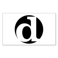 "black and white ""d"" Rectangle Decal"
