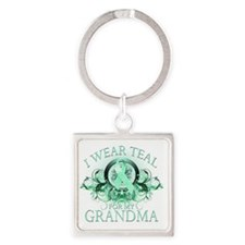 I Wear Teal for my Grandma (floral Square Keychain