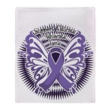 Alzheimers-Butterfly-3-blk Throw Blanket