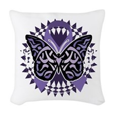 Alzheimers-Butterfly-Tribal-2- Woven Throw Pillow