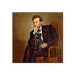Lincoln-Black Pug Square Sticker 3