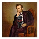 Lincoln-Black Pug Square Car Magnet 3