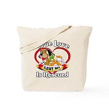Rescued-Love-2009-blk Tote Bag