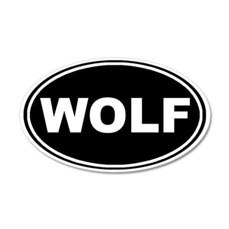 Wolf oval-black 35x21 Oval Wall Decal