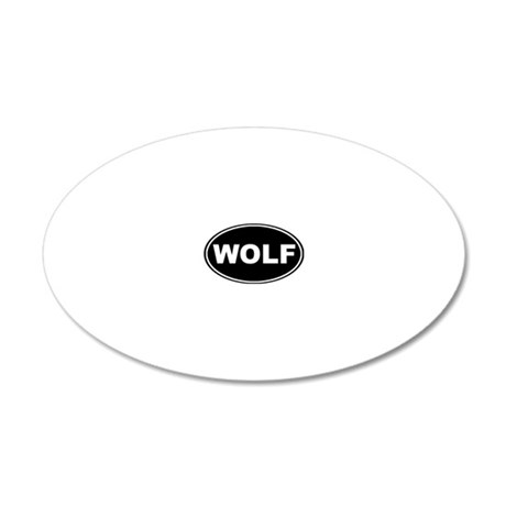 Wolf oval-black 20x12 Oval Wall Decal