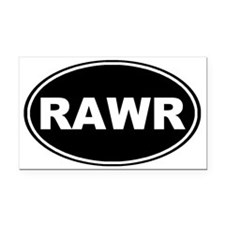 Rawr oval-black Rectangle Car Magnet