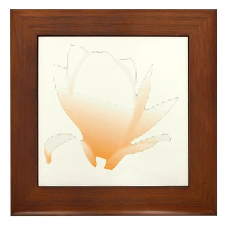 Pastel Orange Bloom Framed Tile